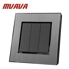 MVAVA 3 Gang 2 Way Smart Home EU UK Standard Silver Metal Frame 3 Gang 2 Way Push Button Lighting Staircase Switch 110V-220V