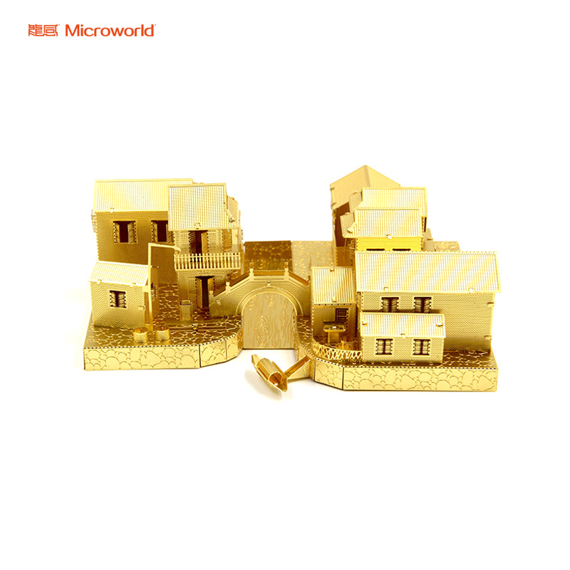 MICROWORLD Classic Building China Jiangnan Ancient Town DIY Scale Model Toy 3D Metal Assembling Puzzle