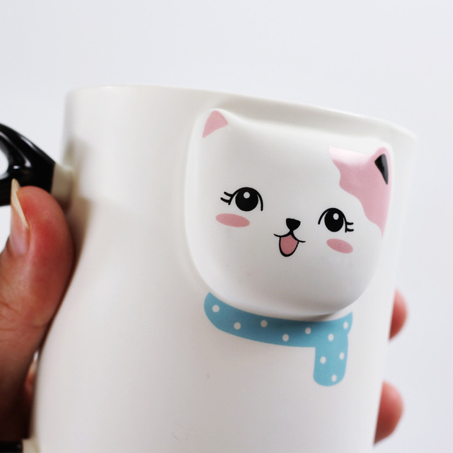 Creative Embossed Cute White Kitty Ceramic Mug and Spoon Set 19 oz