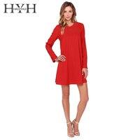 HYH Apparel Red Metallic Collar Casual Mini Dress Women Clothing Black Back Button Loose Vestido Sheer Sexy Female Dress