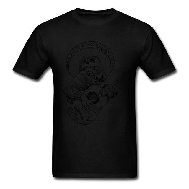 T-shirt Unique mexicain Mariachi chantant crâne T-shirt hommes blanc T-shirt 100% couverture en coton chanteur T-shirt Hip Hop vêtements Discount