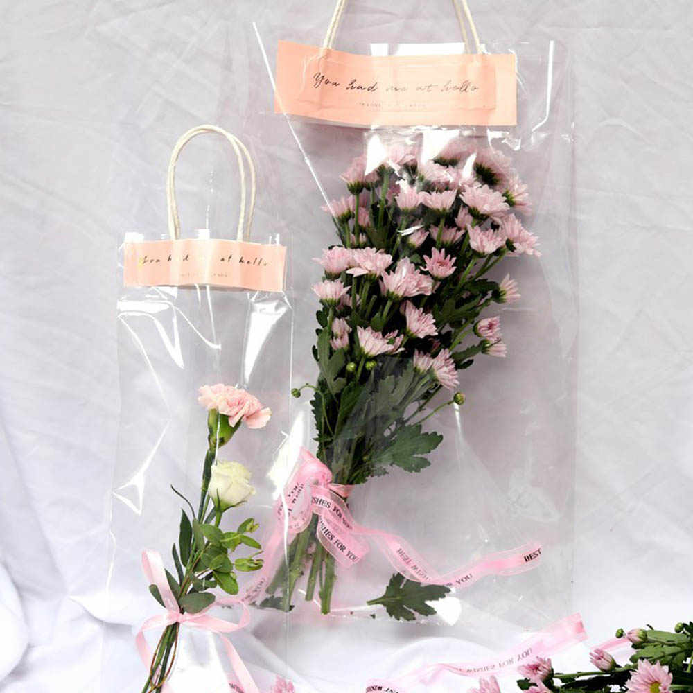 10pcs/Lot Florist Decoration Long Tote PVC Clear Bag Flower Bouquet Bagging Portable Transparent Gift Bag Collocation Packaging