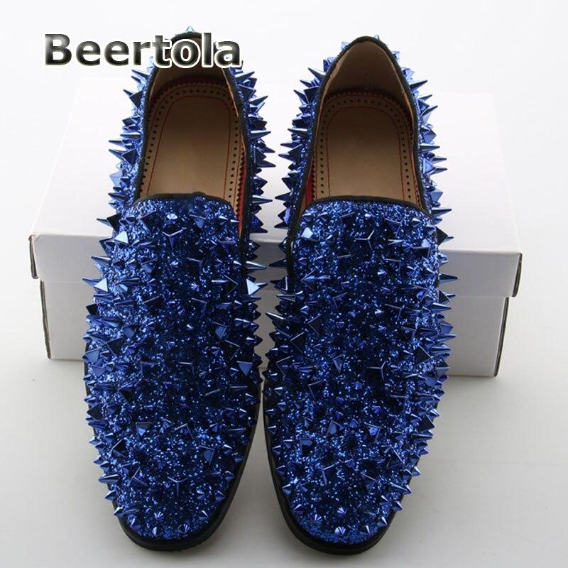 Sobre Deslizar Brilhante Mocasines Azul Flats Cravado De Beertola Tamanho Preguiçosos Homens Glitter Mocassins Couro Para Sapatos 46 qnHBY0