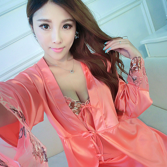 sexy Ladies Pajamas Nightdress Long Spring Autumn Silk Robe Temptation Two Piece Suit Home Furnishing PijamasWomens Nightgowns