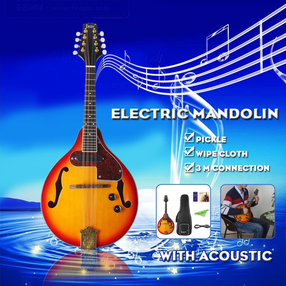 Rosewood 8-String Electric Mandolin  A Style Rosewood Fingerboard Adjustable String Instrument With Cable Strings Picks Bag