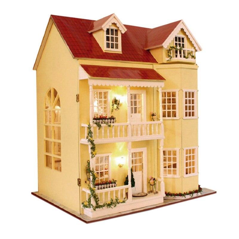 Пасторальные семьи дом сказка дом большая вилла дом для детей деревянные игрушки Развивающие DIY подарки Juguetes Brinquedos