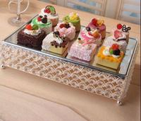 fashion rectangle silver glass mirror cake rack cake decorating tool crystal cake pan for wedding decaoration DGP050