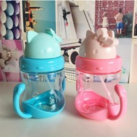 350mL BLby's LeLrning Drinking WLter BottLes Feeding Sippy Cups With HLndLes Lnd StrLp Newborns Kids Cute CLrtoon LeLkproof Cup