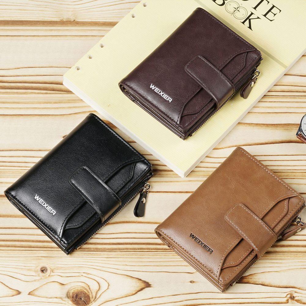 Men 39 s Business Soft Wallet Coins Pocket Credit Card Holder Purse with Zip Short vertical British casual multi function card bag in Wallets from Luggage amp Bags