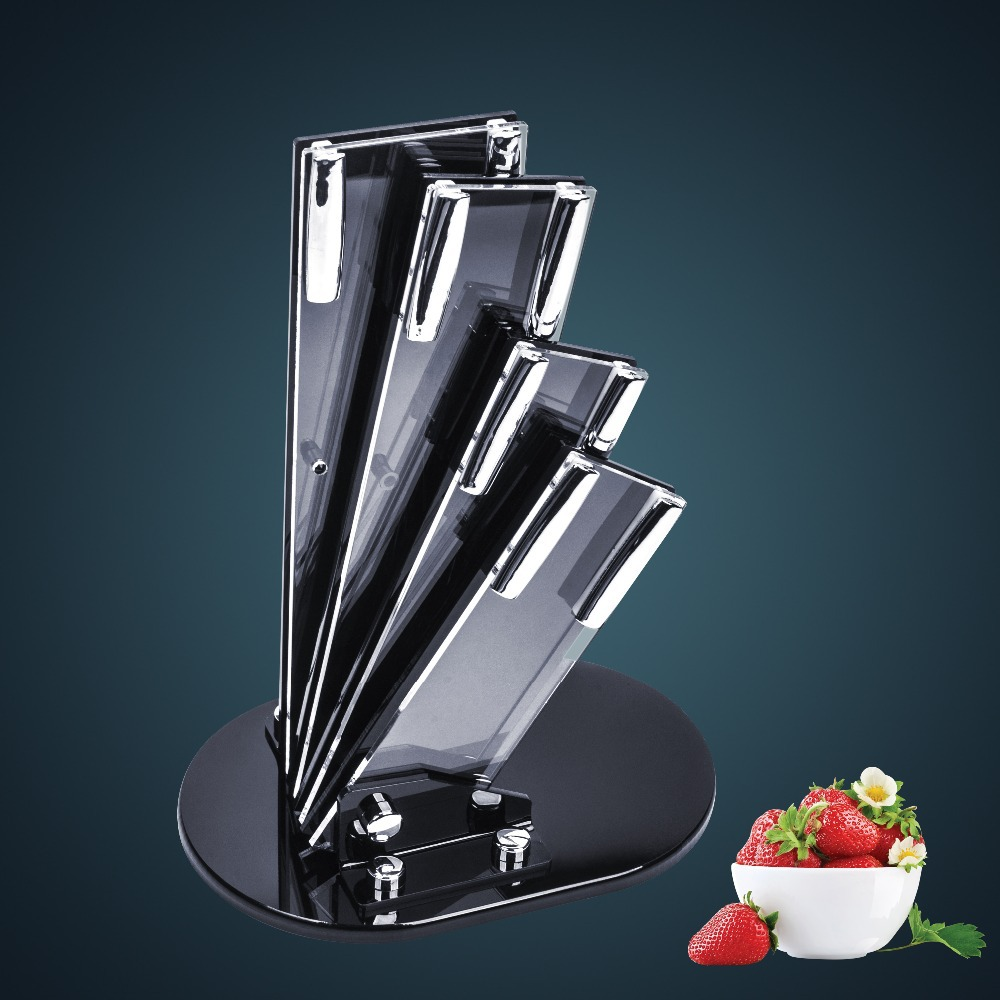 High Quality Stainless Steel Knives Acrylic Block Holder, Knives Stand Holder Block Free Shipping