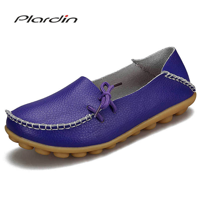 Plardin 2019 Donne Scarpe Basse Scarpe Donna Mocassini Plus Size Donna Fashion cuoio genuino Casual Scarpe lace up Scarpe Donna