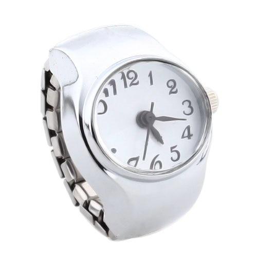 YCYS-Watch Quartz Movement Oval Ring Alloy Deco Woman WHITE