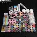 Nail Art Set Acrylic Powder Liquid Glitter Glue Toes separator Brush Tweezer Primer Tips Decorations Manicure DIY Tools Kit