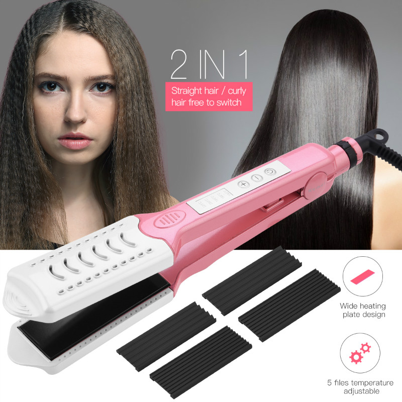 3 in 1 Electric Hair Curler Straightener Ceramic Corrugated Flat Iron Curl Hair Crimper Plate Corn Corrugated Iron Straightening ckeyin 110 240v electric straightening iron ceramic corrugated hair crimper straightener corn plate fast straight hair flat iron