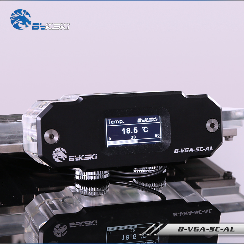 BYKSKI OLED Digital Display Water Temperature Meter use for GPU  Block Adapter Add in Radiator G1/4 Thermometer Sensor FittingFans