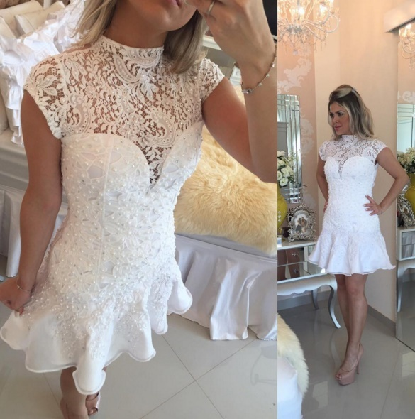 New Arrival White Short Mermaid Cocktail Dresses 2017 Pearls robe de High Neck Lace Beading Mini Graduation Dress