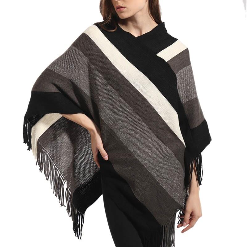 2017 Herbst Winter Frauen Niedlichen Gestrickten Pullover Poncho Sexy Gestreiften V-ausschnitt Unregelmäßigen Beiläufigen Losen Pullover Warmes Lob Von Kunden Zu Gewinnen