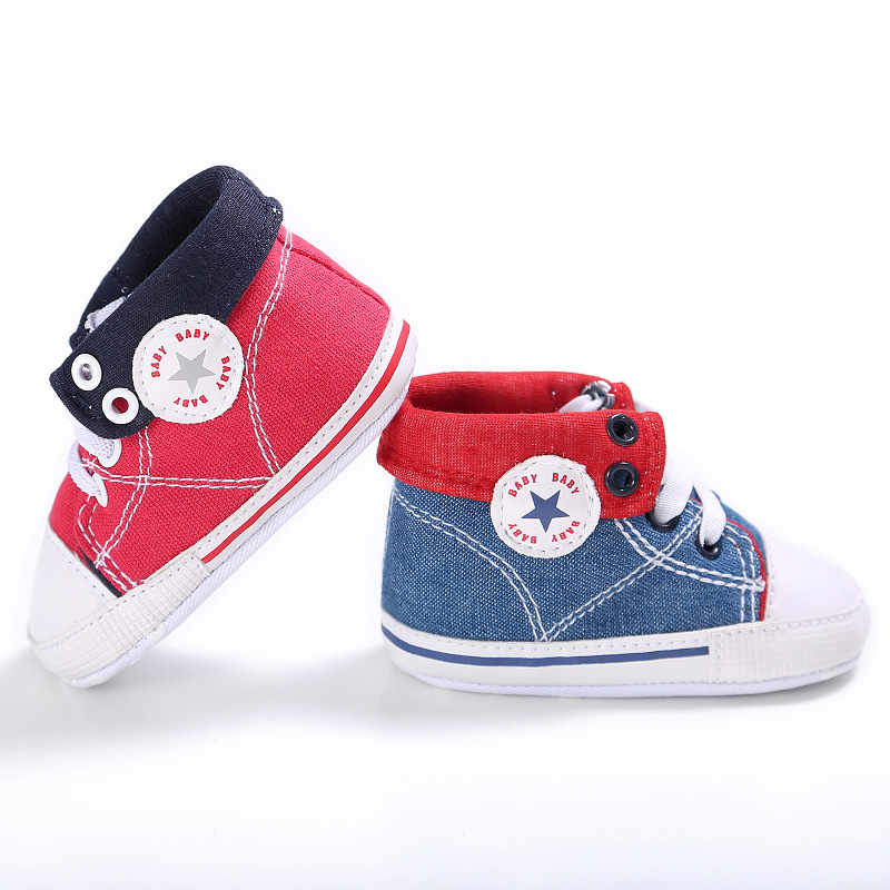 2018 jeans canvas sports shoes Baby Moccasins Shoes Baby girls boys Shoes denim ankle-high Newborn first walker Infant Shoes
