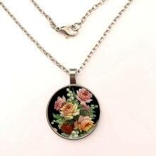 GDRGYB 2019 Vintage Vintage Floral The necklace Vintage Floral Flower Glass Tile Glass Dome The necklace vintage artificial crystal floral necklace for women