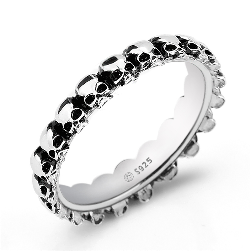925 Sterling Silver Skull Men Ring Gothic Stackable Skeleton Punk Rock Style Finger Ring for Men Fashion Jewelry