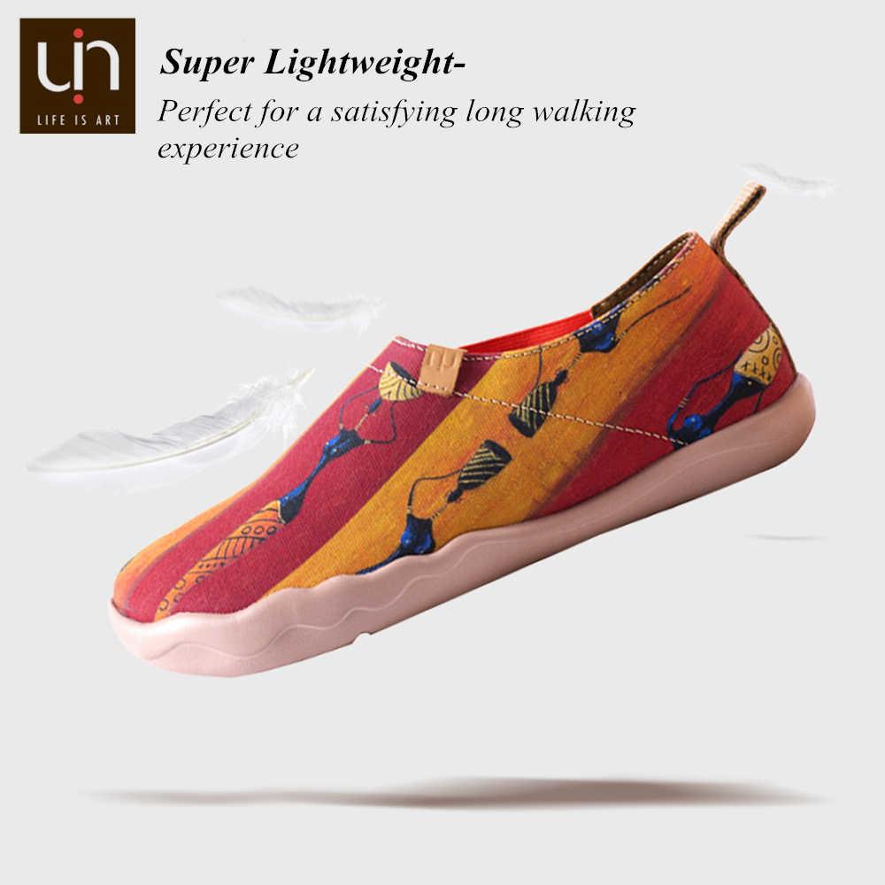 UIN série africaine peint à la main toile chaussures femmes confort mocassins dames baskets en plein air décontracté chaussures plates Super léger