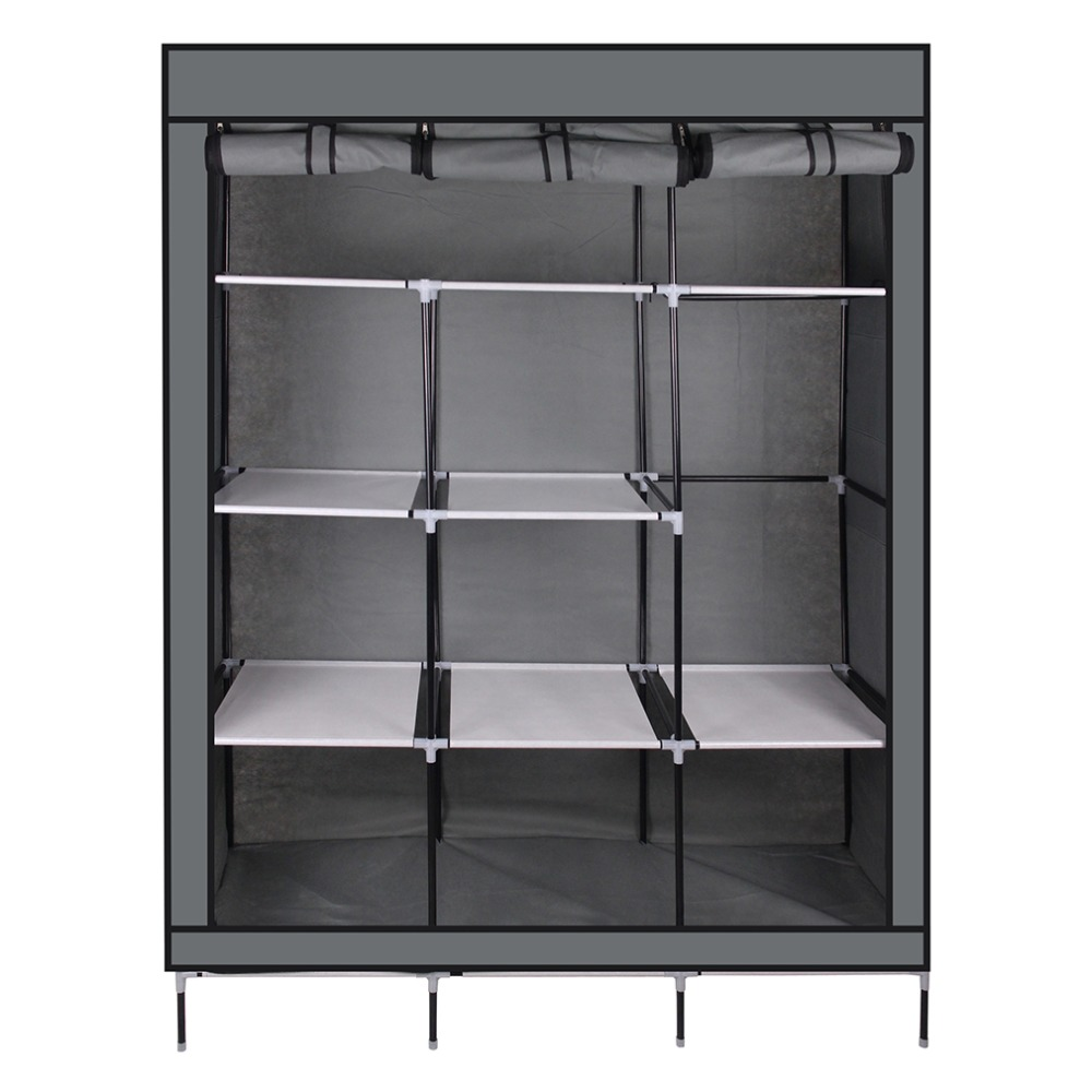 69 Inch Portable Closet Organizer Large Space Clothes Wardrobe Steel Tube  Rack With Shelves Clothing Storage Closet Colorful