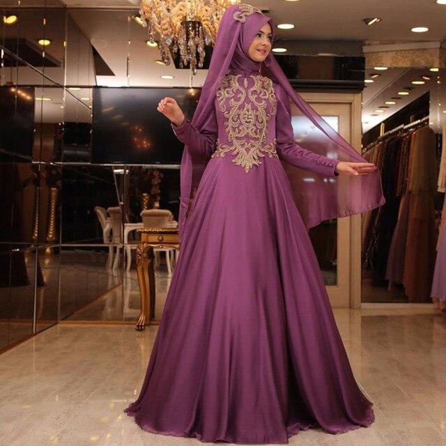 New Arrival Arabic Evening Dresses Elegant Long Kaftan Dubai Evening Gowns  A Line Chiffon Long Sleeve Muslim Evening Dress a3b0df6fabf2