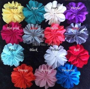 Image 5 - 3,2 дюймовые шифоновые цветы, DIY цветные цветы для головной повязки и аксессуары для волос, 60 шт./лот, бесплатная доставка