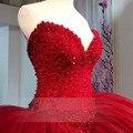 Новый Халат де mariage Красный Тяжелое Вышитый Бисером Бальное платье Свадебные Платья 2016 Пользовательские Милая Рукавов Свадебное Платье Vestido де noiva