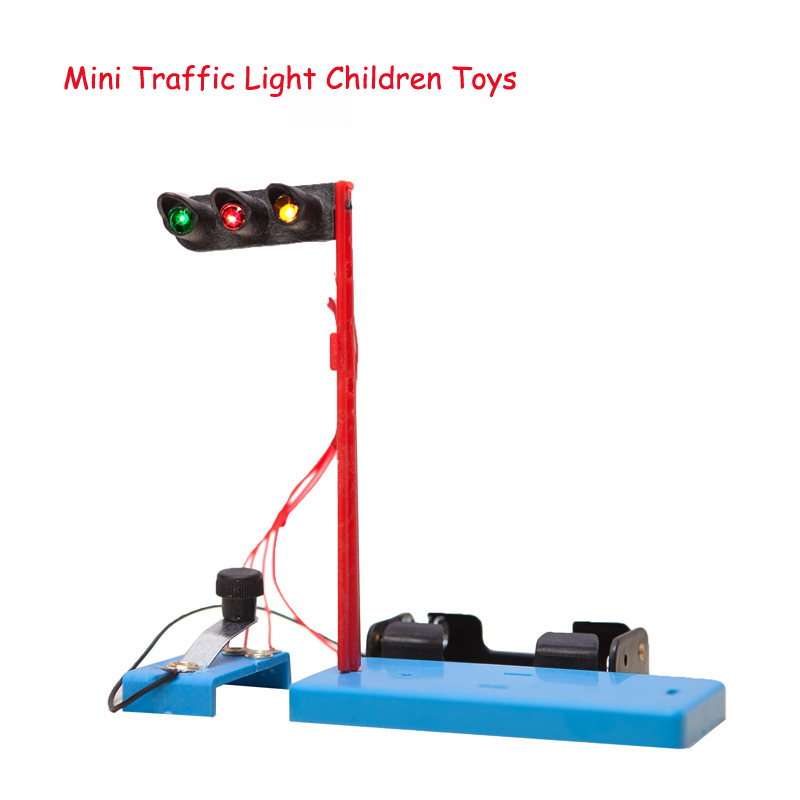 Kid DIY Colorful Mini Electronic Plastic Traffic Light Science Experiment Gizmo Student Fun Learning Education Toys for Children