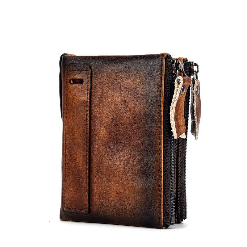2018 New Genuine Leather Men Wallets Vintage Purse Luxury Brand Bifold PORTFOLIO Rfid Fashion Magic Vallet Male Coin P