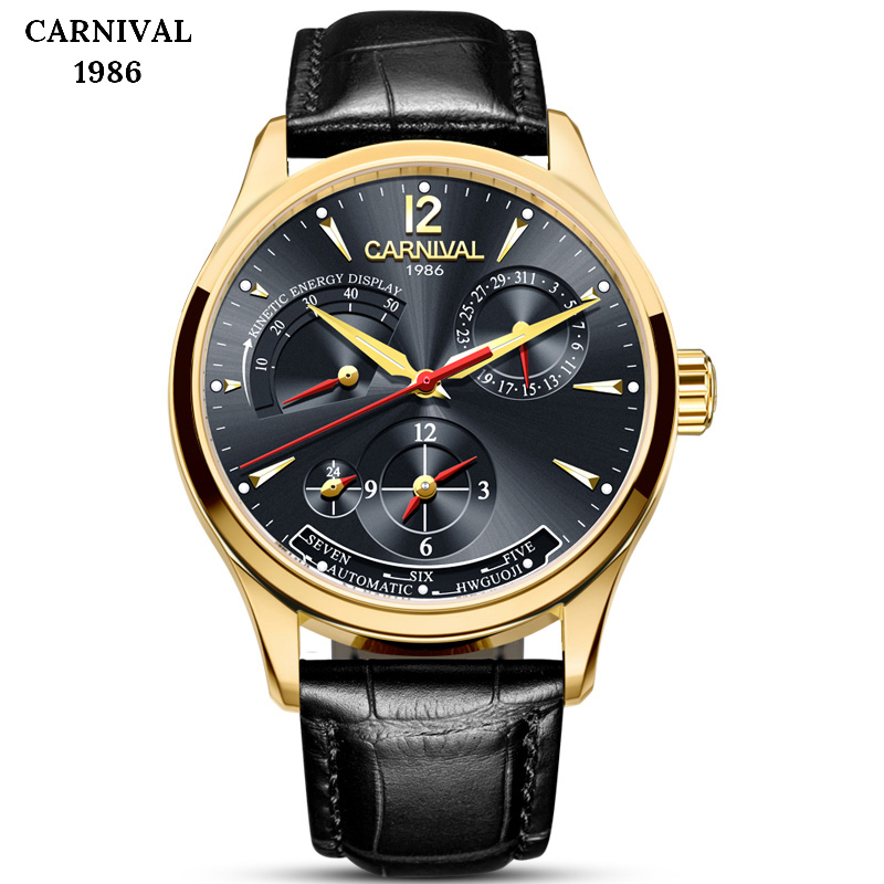 CARNIVAL Switzerland Top Brand Luxury Mens Watches Automatic Mechanical Watch Men Calendar Bussiness Leather Waterproof reloj