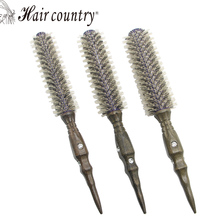 Roll Round Comb Brush Hair Care Tool Wood Handle Natural Bristle Curly Hair Brush Fluffy Comb Hairdressing Barber Tool Comb Roll