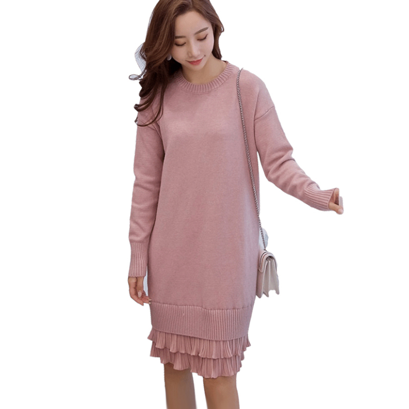 Maternity Nursing Dress Breastfeeding Plus Size Pleated Chiffon Patchwork Knit Dreses -5987