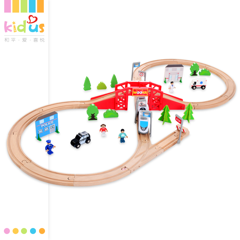 Zalami 50Pcs Electric Wooden Train Set High Quality Wooden Railway Track City Diecast Set educational Toy Gift