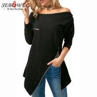 SEBOWEL 2018 New Style Zipper Embellished Sexy Off Shoulder Tops Asymmetric Hem Blouse Women Long Sleeve