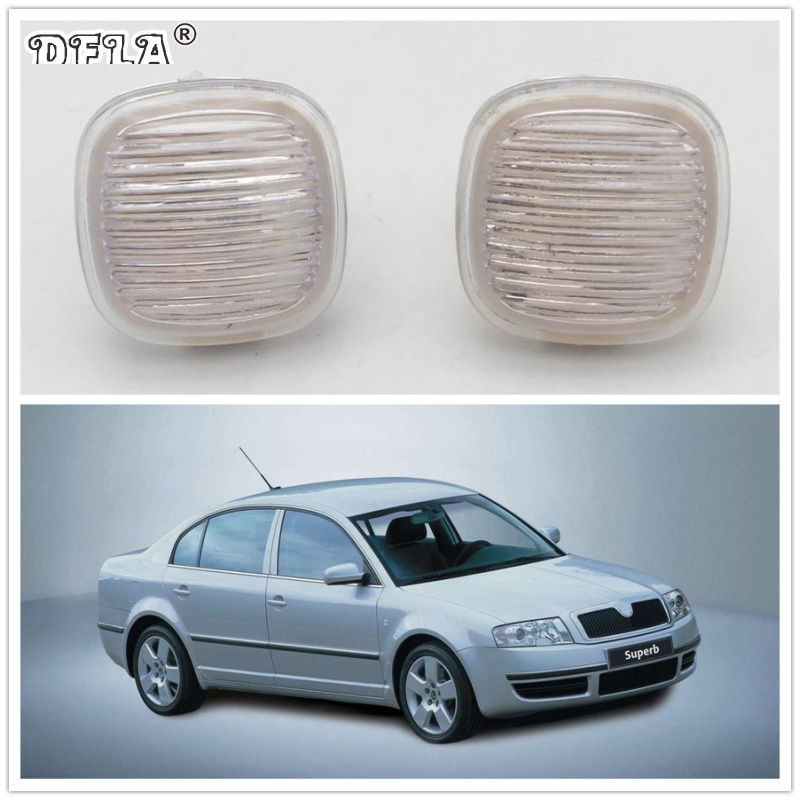 2pcs For Skoda Superb 2002 2003 2004 2005 2006 2007 2008 Car-Styling Side Marker Turn Signal Light Lamp Repeater