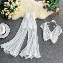Women Fashion Clothing Set Short Sexy V-neck Top and Pleated