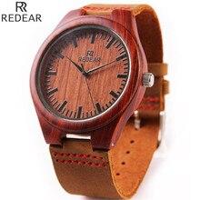 Nueva Marca de Fábrica superior de Diseño Carácter Hademade Sandalwooden Rojo Japonés Movimiento de Cuarzo Reloj Para Hombre Mejor Regalo 2035 relogio masculino