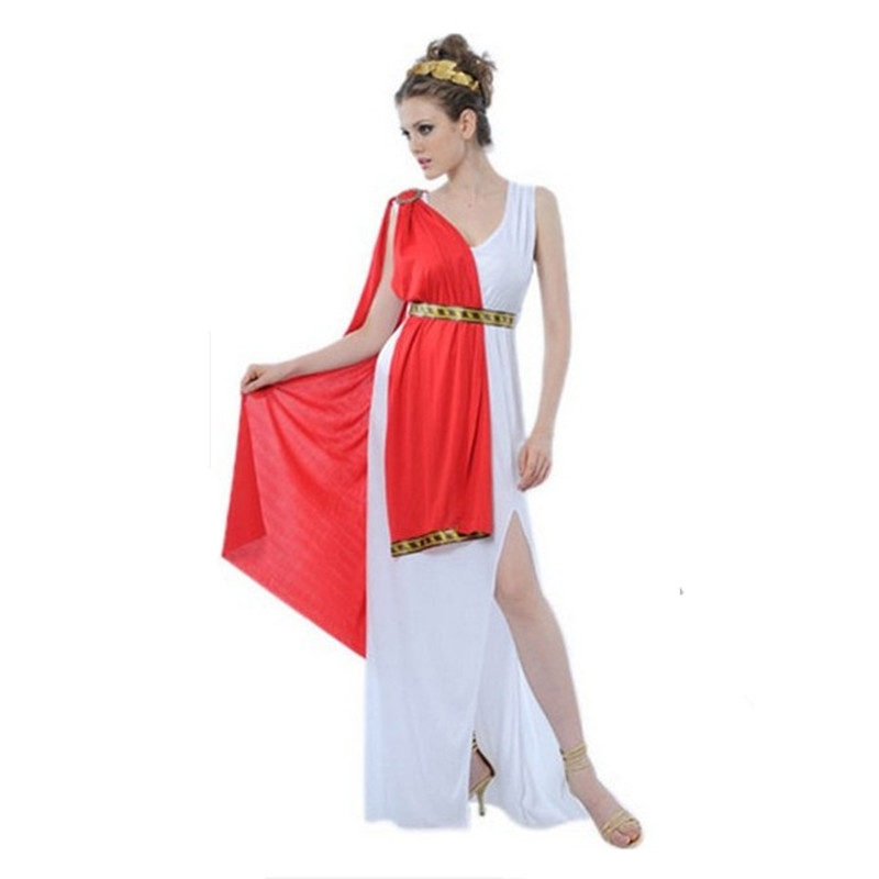 Greek Goddess Costumes Women Sexy Deep V-neck Split White New Year Halloween Ancient Egypt Prince Costumes for Women