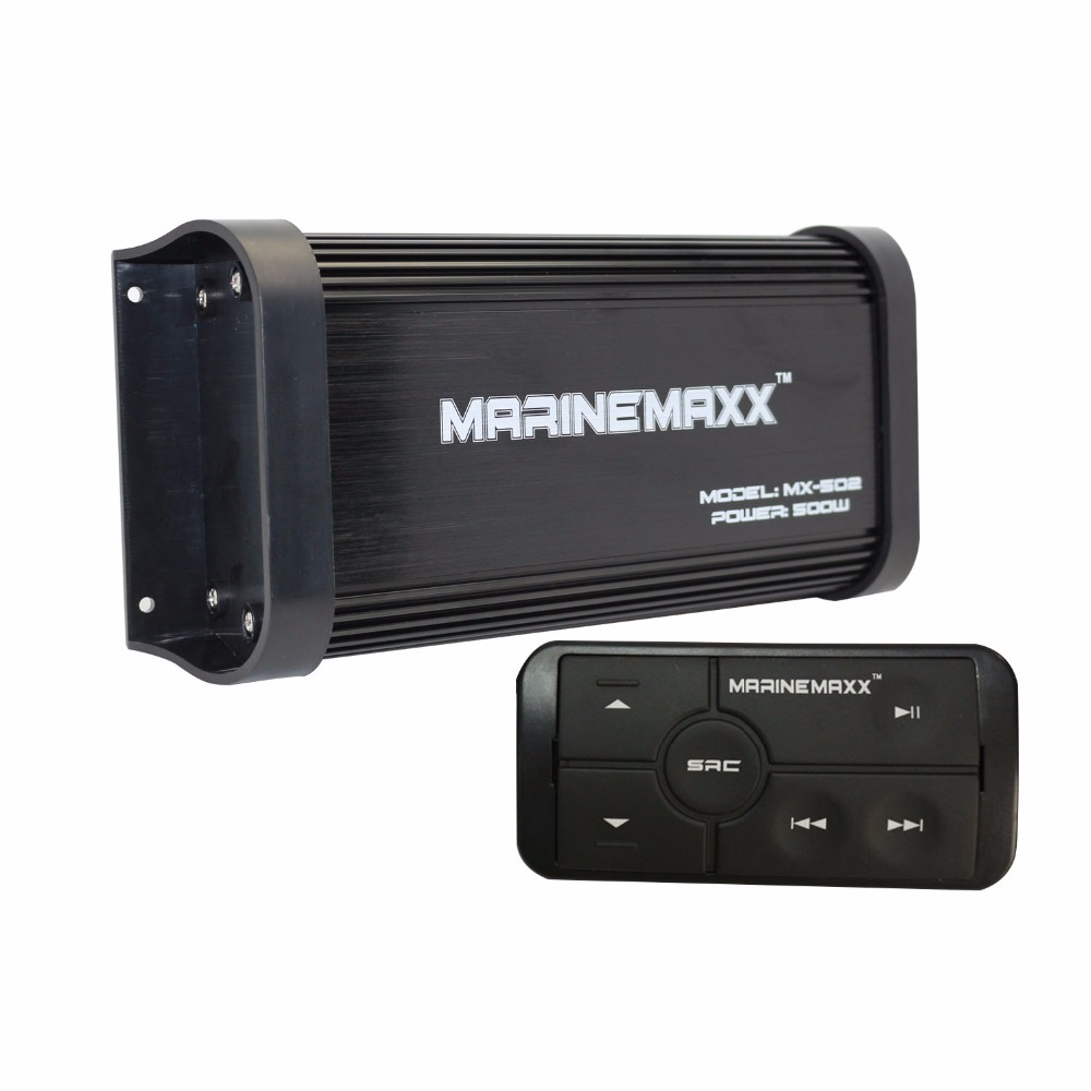 500W 4 Channels Waterproof Marine Bluetooth Motorcycle Amplifier Car Stereo Audio With Controller For Boat ATV UTV Golf Cart