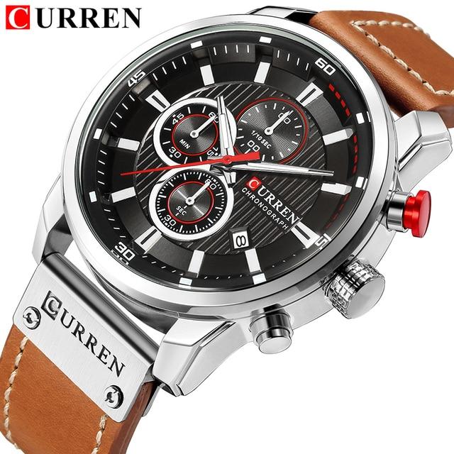 男性の時計はmasculino高級ブランドメンズレザースポーツ腕時計メンズアーミーミリタリー · ウォッチ男クオーツ時計
