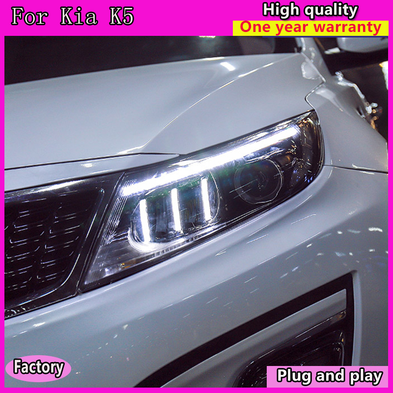 Car Styling Head Lamp for Kia K5 Headlights 2011-2013 Optima LED Headlight Angel Eye LED DRL Hid Bi Xenon Auto Accessories