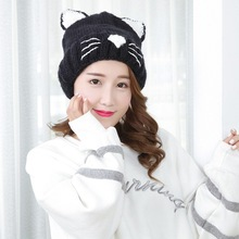 цены Cute Cat Design Winter Hats For Women Beanie Hat Warm Hip Hop Cap Girl Knitted Unisex Bonnet Femme Beanie Hats Gorro Bonnet
