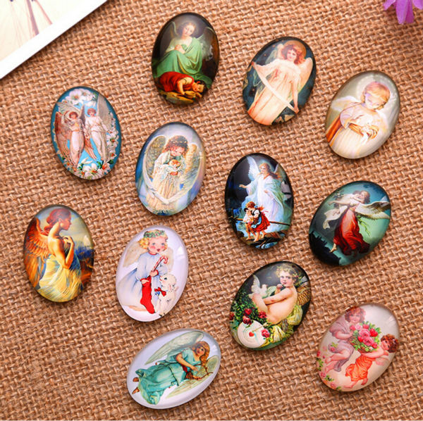 Noble Angel 13x18mm/18x25mm/30x40mm Oval Photo Glass Cabochon Demo Flat Back Making Findings Jewelry Making