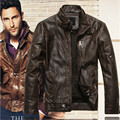 2016 new fashion brand motorcycle genuine leather clothing ,men's leather jacket, Free Shipping