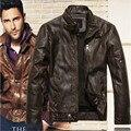 2016 nueva ropa de moda de marca de motocicletas de cuero genuino, hombres chaqueta de cuero, envío Gratis