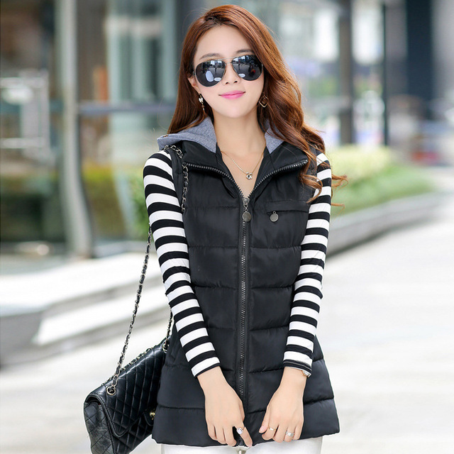 2015 New Designed Autumn Winter Cotton Vest Women Long Warm Cotton Down  Vest Casual Slim Sleeveless 0042db13e
