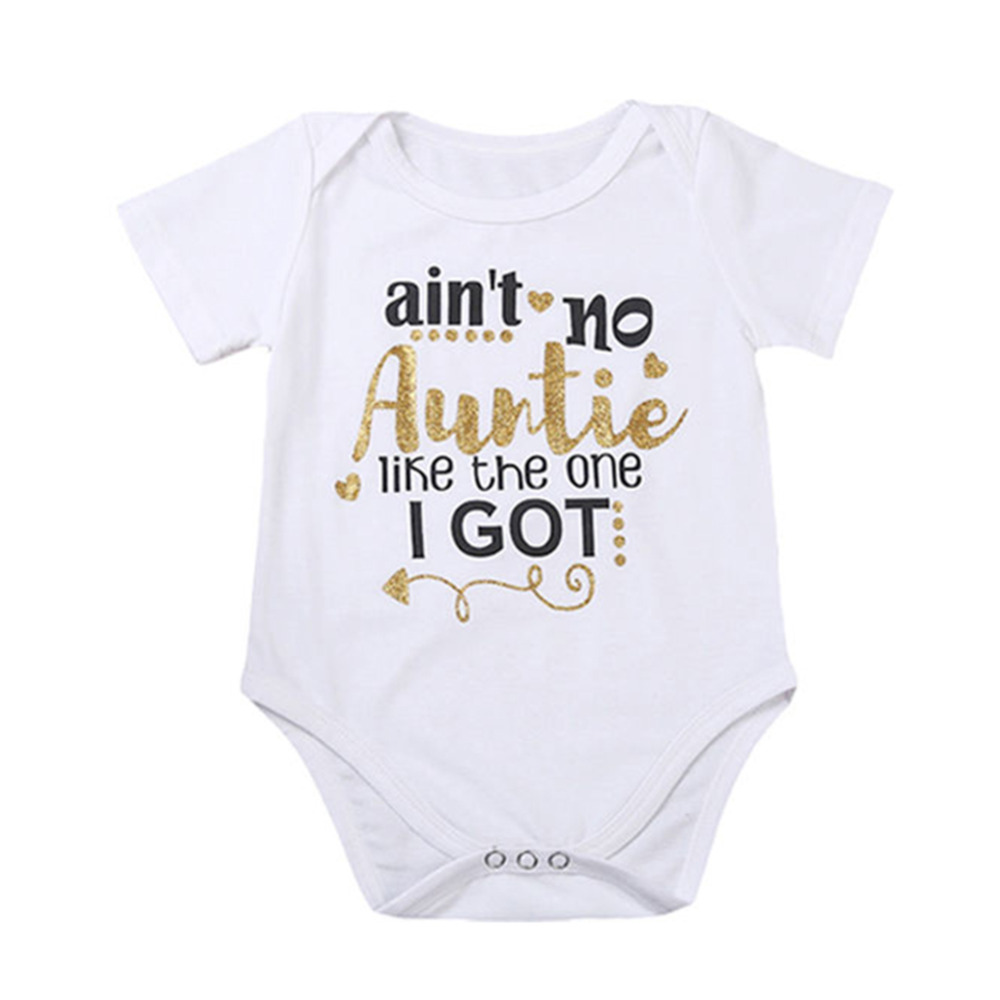 HO-KLOSS Newborn Baby Girl bodysuit Letter Print aint no auntie Toddler summer children clothing 1pcs short sleeves 70-100cm