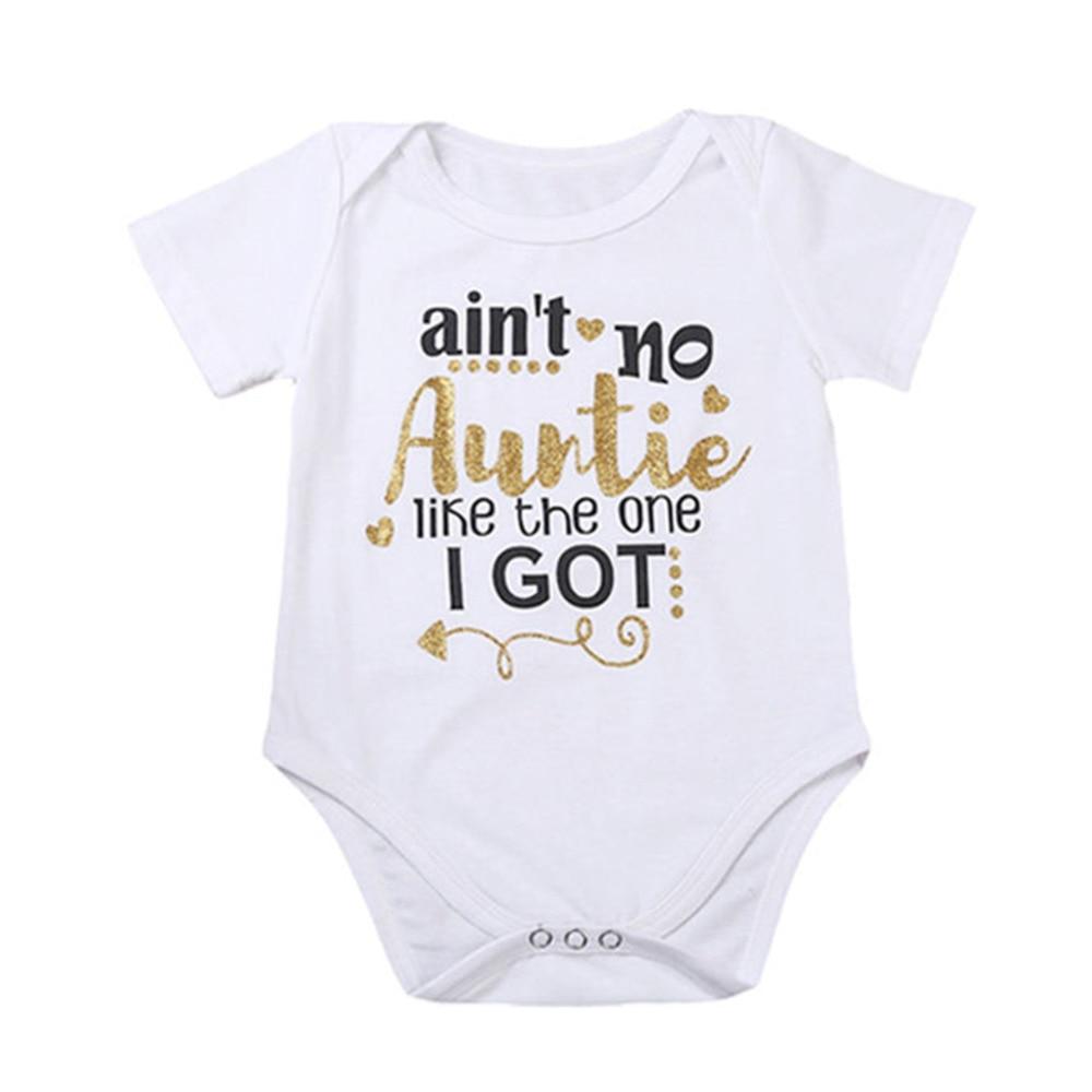 HO-KLOSS Newborn Baby Girl bodysuit Letter Print aint no auntie Toddler summer children clothing 1pcs short sleeves 70-100cm